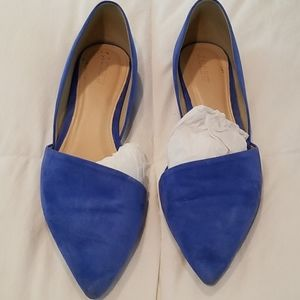 J. CREW bright blue suede d'Orsay flat